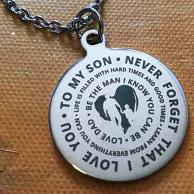 To My Son...Love Dad Necklace With Key Ring