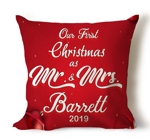 Our First Christmas As Mr and Mrs...Personalized Pillow Covers With Year and Last Name