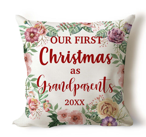 First Christmas As Grandparents Pillow Cover Personalized Pillow Cover