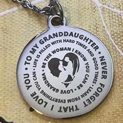 To My Granddaughter...Love Grandma Necklace With Key Ring