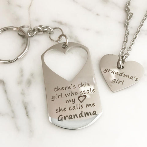 There's This Girl Who Stole My Heart...She Calls Me Grandma Keychain & Grandma's Girl Necklace