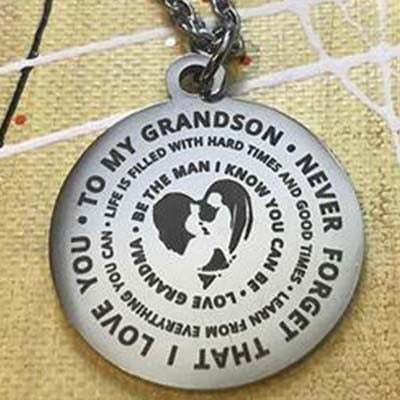 To My Grandson...Love Grandma Necklace With Key Ring
