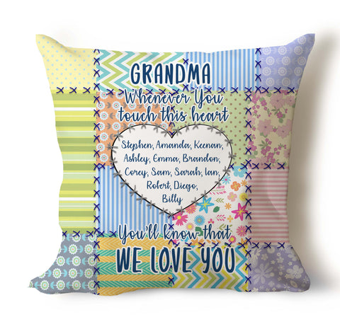Grandma And Grandpa, Whenever You Touch This Heart, You Will Know That We Love You Personalized Pillow Cover