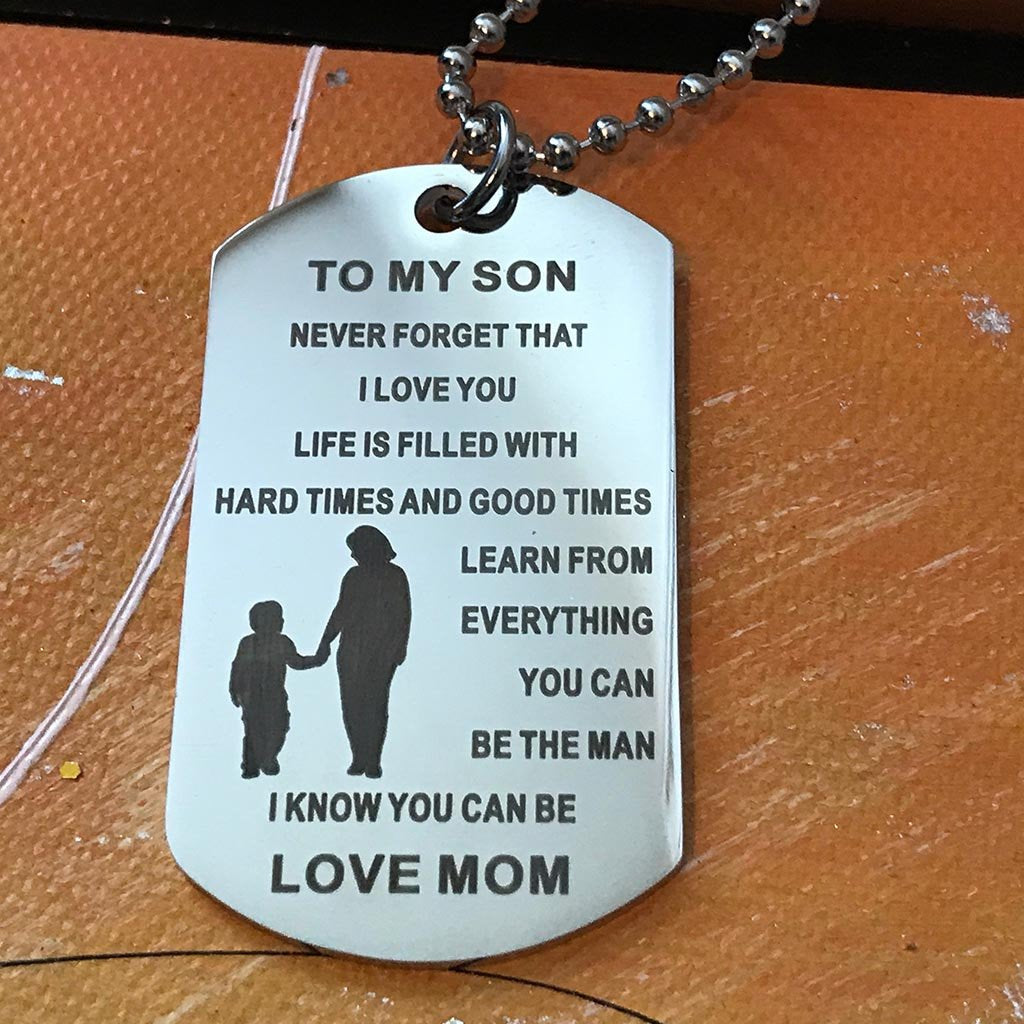 To My Son...Love Mom Dogtag Type Necklace With Key Ring