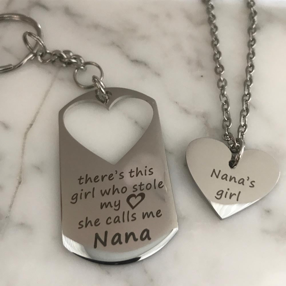 There's This Girl Who Stole My Heart...She Calls Me Nana Keychain & Nana's Girl Necklace