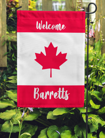 Welcome Maple Leaf Garden Flag Personalized With Your Last Name