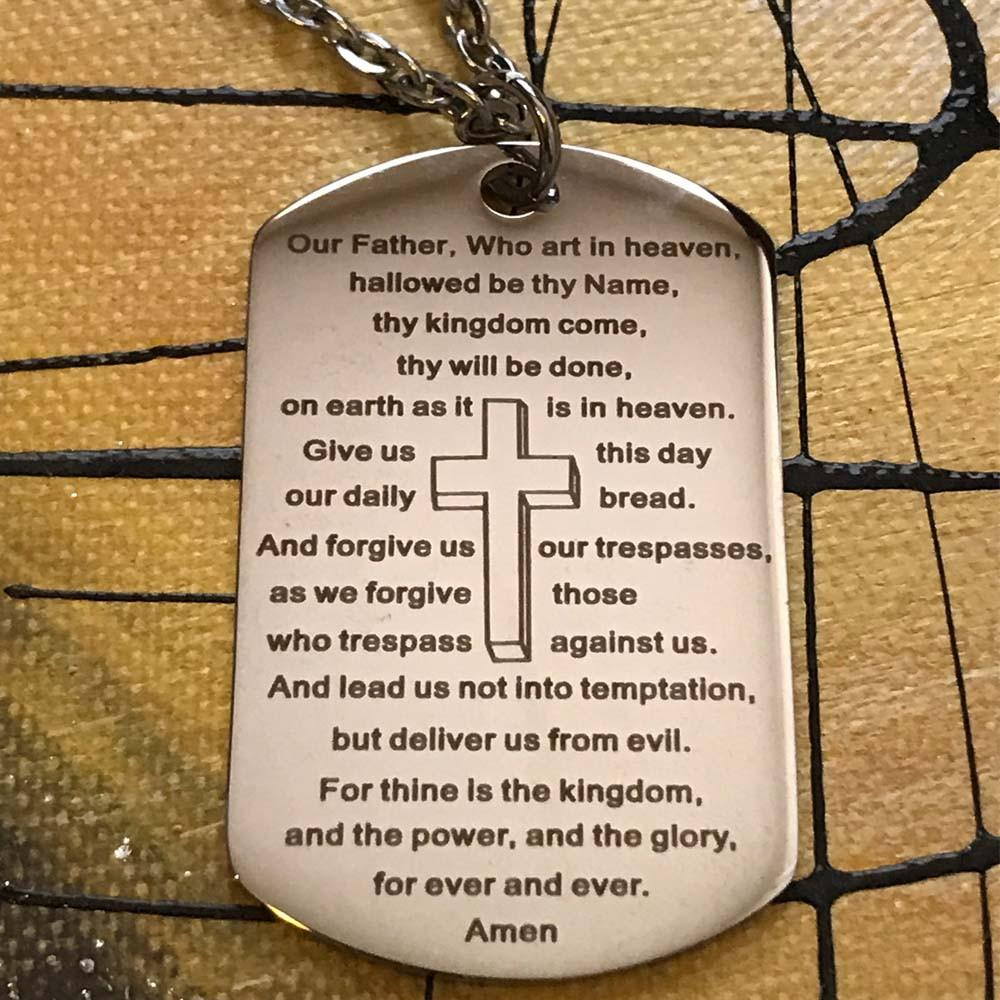 Lord's Prayer Necklace With A Key Ring