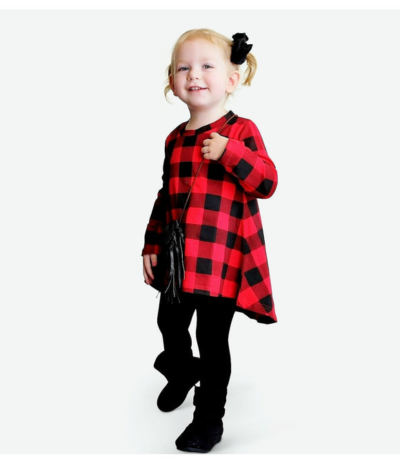 Red Checkered Tunic Dress