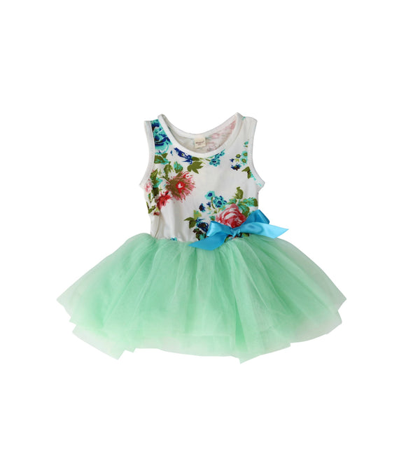 Light Aqua Floral Tulle Dress