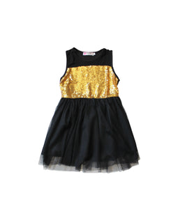 Black Tulle Gold Sequin Dress