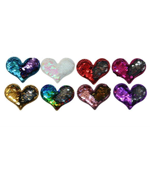 Set of 2 Reversible Sequin Heart Hair Clips