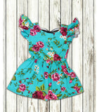 Turquoise Floral Bow Back Dress