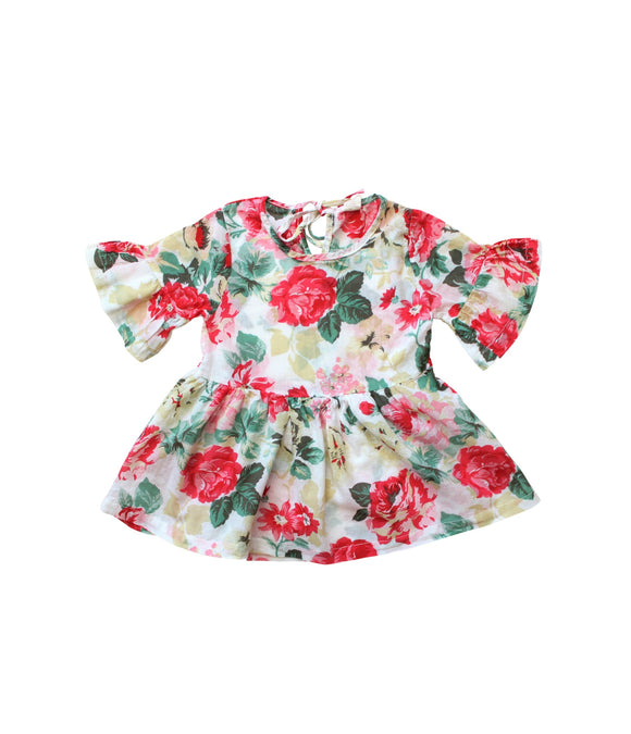 Ivory Floral Ruffle Waist Top