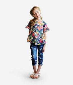 BOXED OUTFIT - Dark Denim Jeans and Floral Top