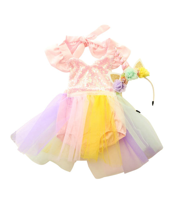 Party Box Pastel Rainbow Tulle Romper and Unicorn Headband