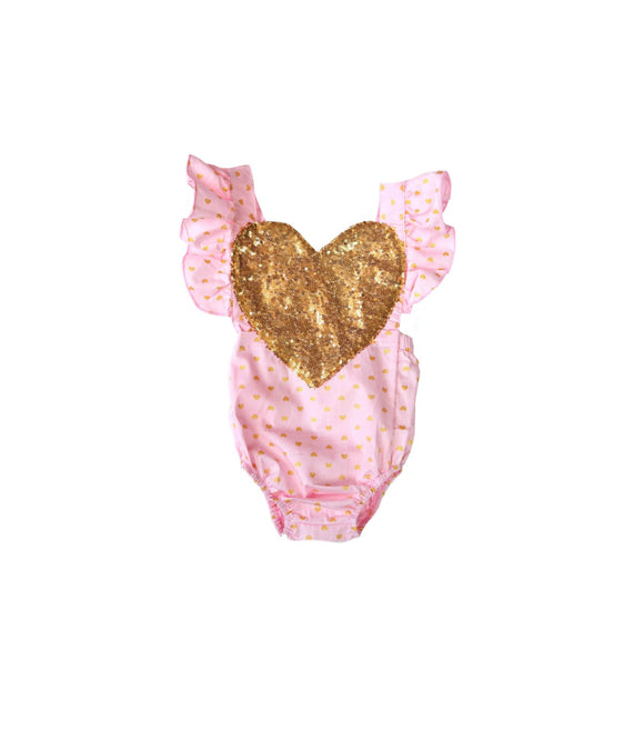Light Pink /Gold Sequin Heart Romper