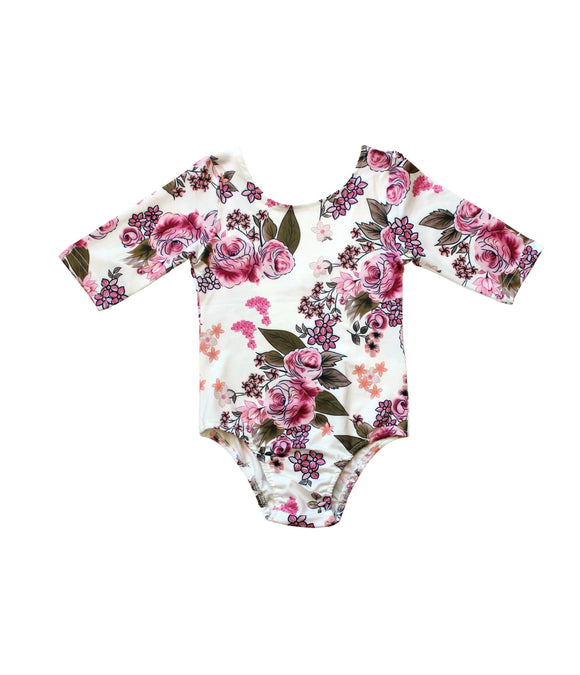 Pink/Ivory Floral 3/4 Sleeve One Piece