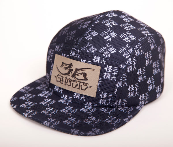 5 PANEL HAT - BLACK BOKASHI MONOGRAM PRINT STRAPBACK