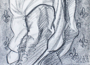 Laocoon's Favorite Serpent, lithograph crayon on acid free sketchbook paper, 9x12 inches by Kenney Mencher