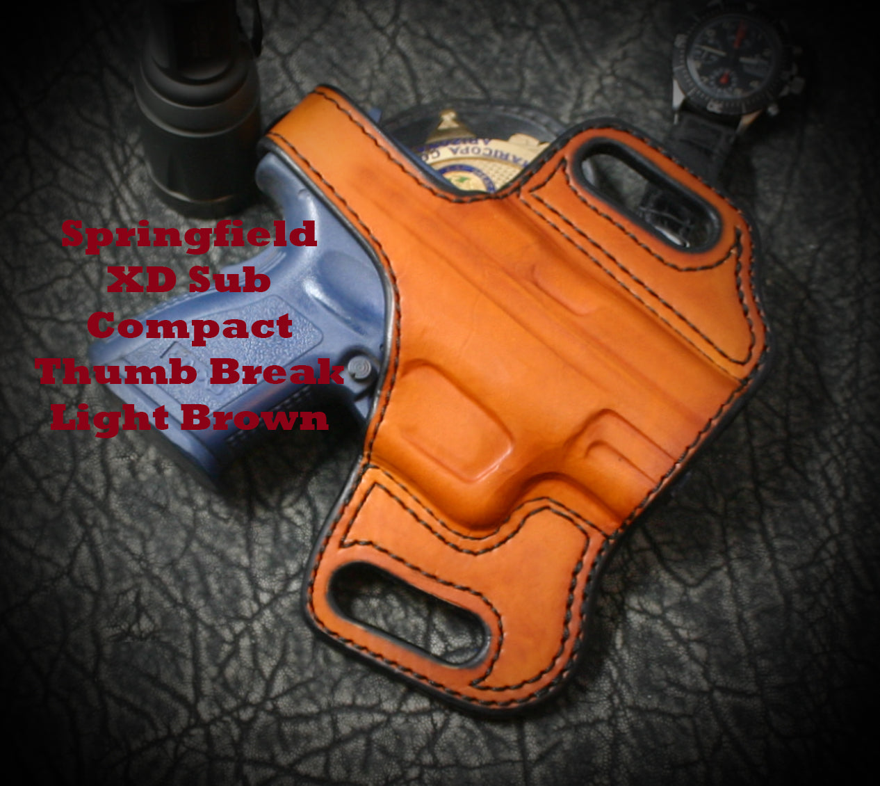 Brown Leather Slide Holster for Springfield XD Comp 9mm