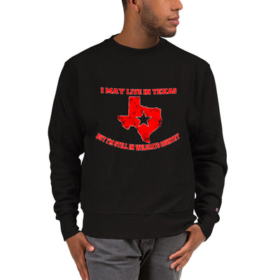 ''I may live in texas but I'm still in wildcats country'' Champion Sweatshirt