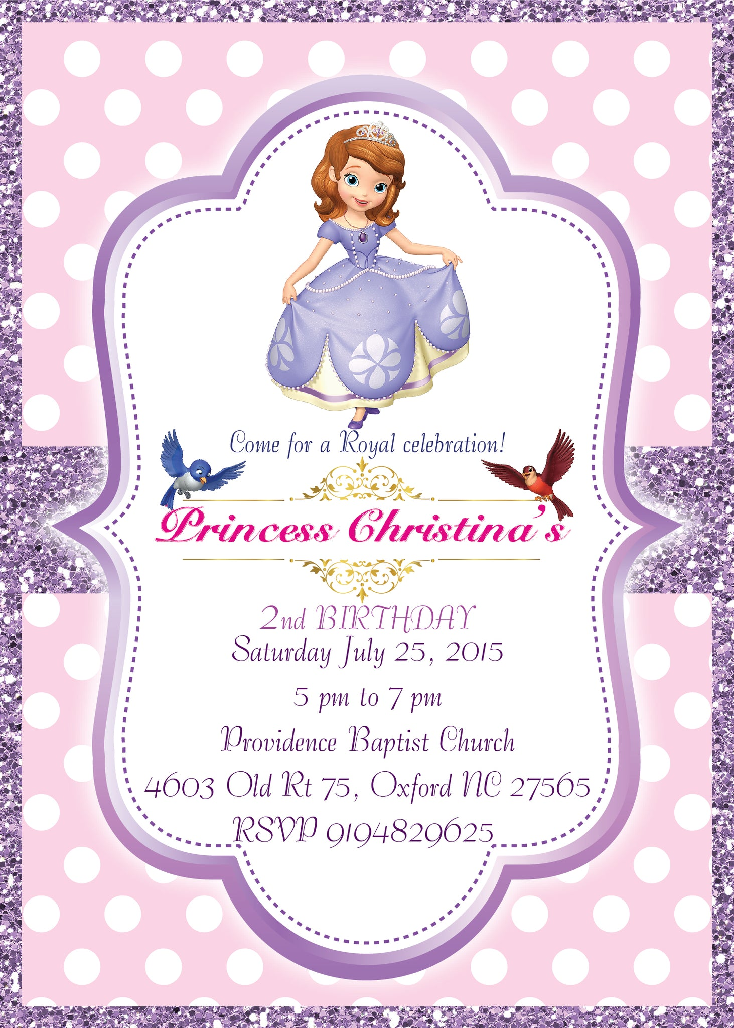 Sofia the First Invitation, Sofia the First Invite, Sofia Invitation ...