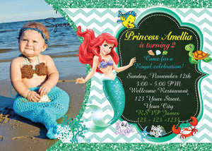 Little Mermaid InvitationAriel Birthday InvitationsLittle Ariel InvitationBirthday