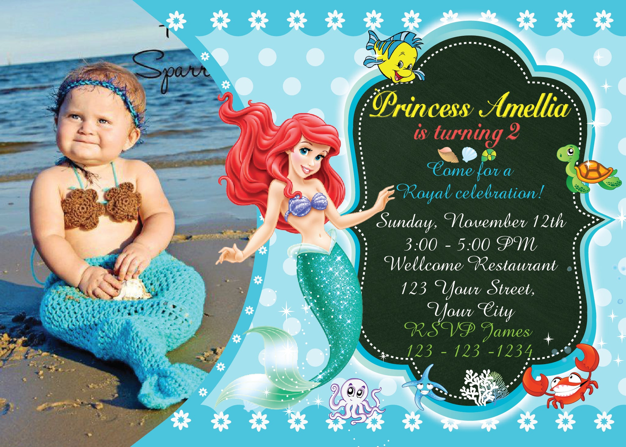 Little Mermaid InvitationAriel Birthday InvitationsLittle BirthdayAriel InvitationBirthday