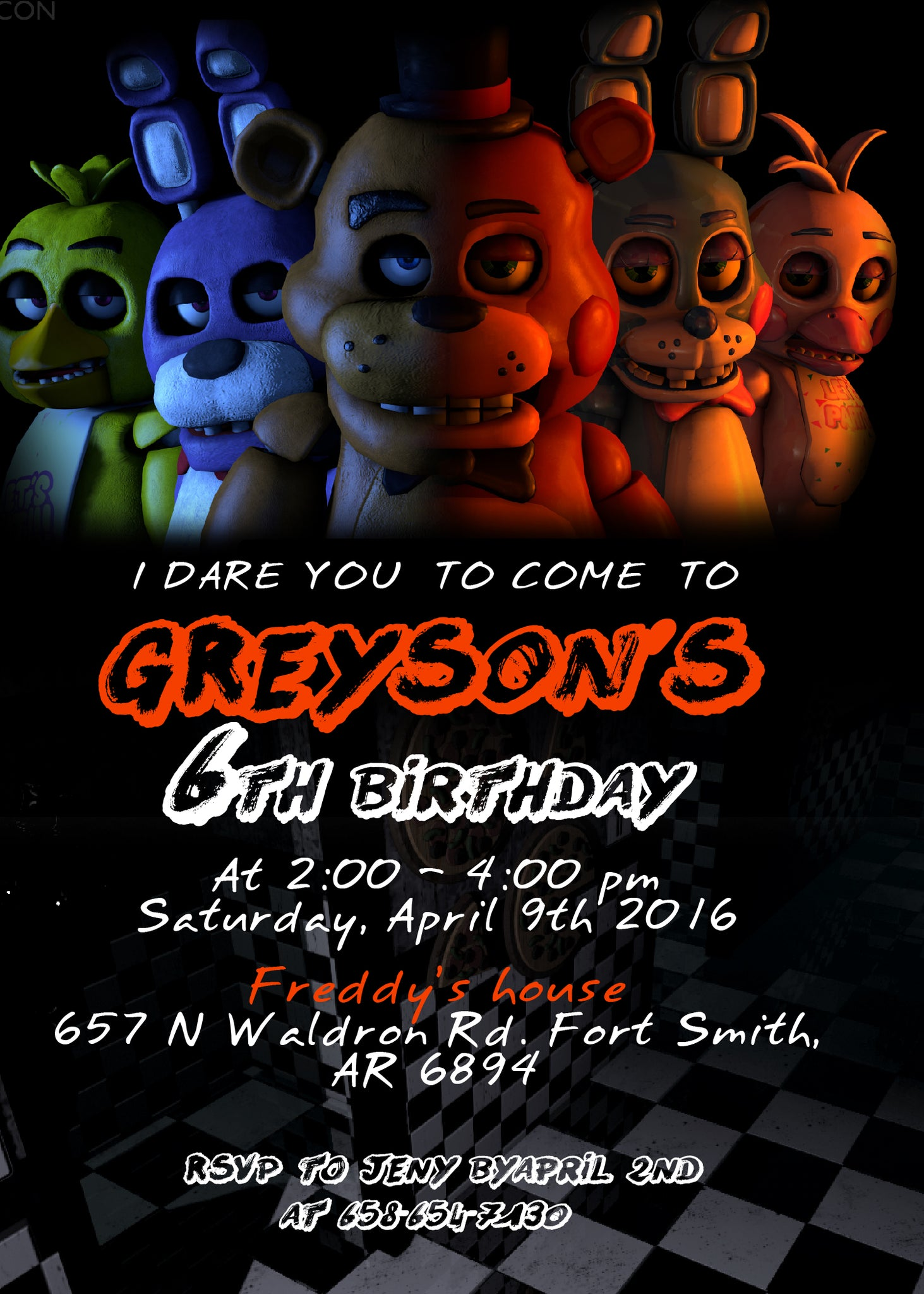 Five Nights At Freddy\'s Birthday Party Invitation, Five Nights at ...