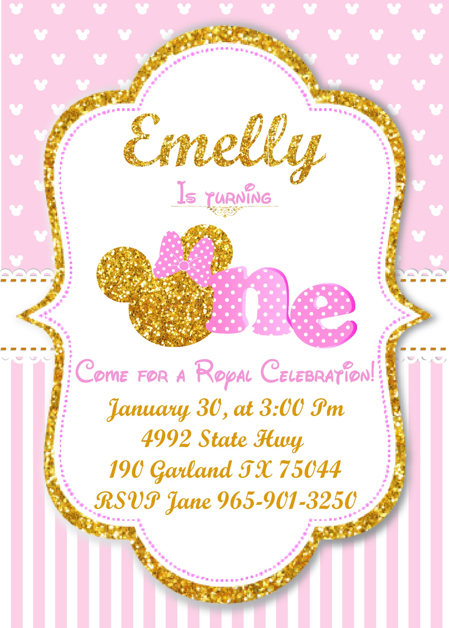 Pink and Gold Minnie mouse 1st birthday invitation, first birthday ...
