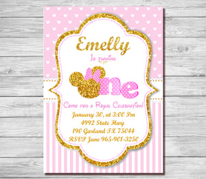 Pink And Gold Minnie Mouse 1st Birthday Invitation First Invite Girls Polk Dots
