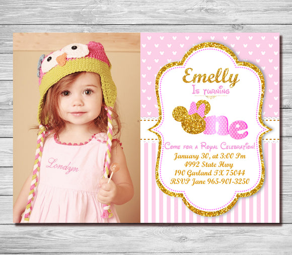 Pink and gold minnie mouse 1st birthday invitation first birthday pink and gold minnie mouse 1st birthday invitation first birthday invite girls polk dots stopboris Choice Image