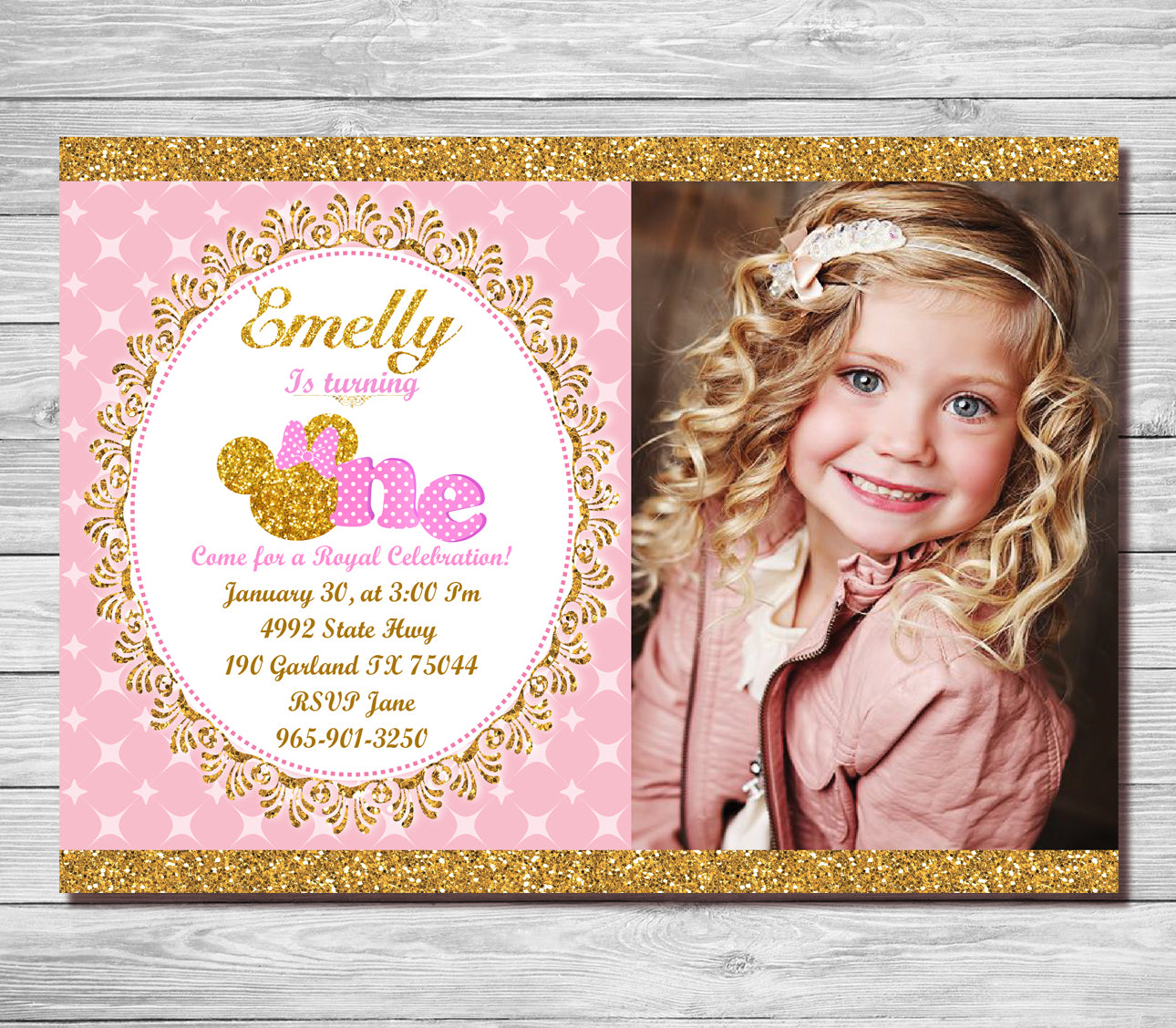 Pink and gold minnie mouse 1st birthday invitation first birthday pink and gold minnie mouse 1st birthday invitation first birthday invite girls polk dots filmwisefo Choice Image
