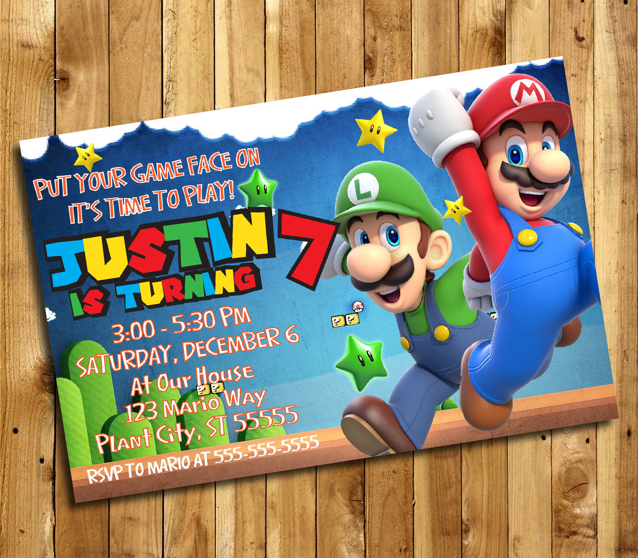 Super Mario Invitation, Super Mario Invite, Super Mario Birthday ...