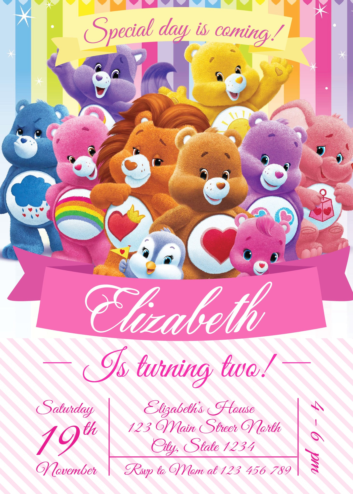 Care Bears invitation, Care Bears Birthday Party Invitation, Care ...