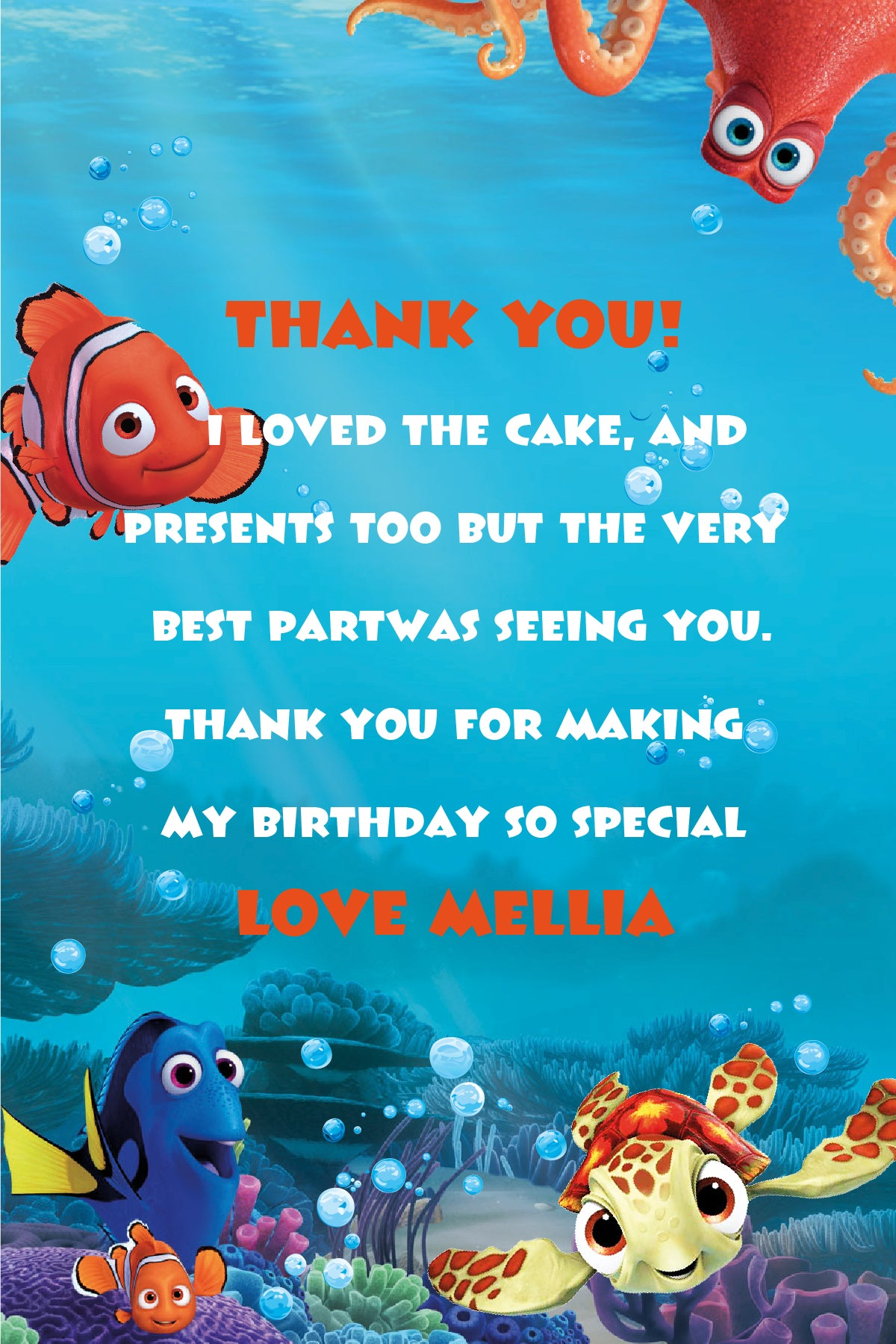 Finding Dory Invitation, Finding Dory Birthday Party, Finding Nemo ...