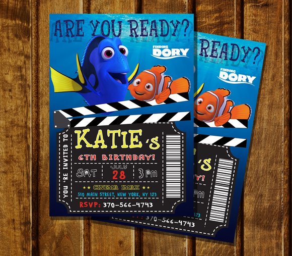 Finding Dory Invitation Finding Dory Birthday Party Finding Nemo