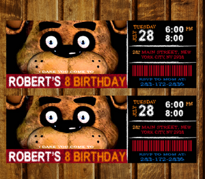 Five Nights At Freddys Birthday Party Invitation