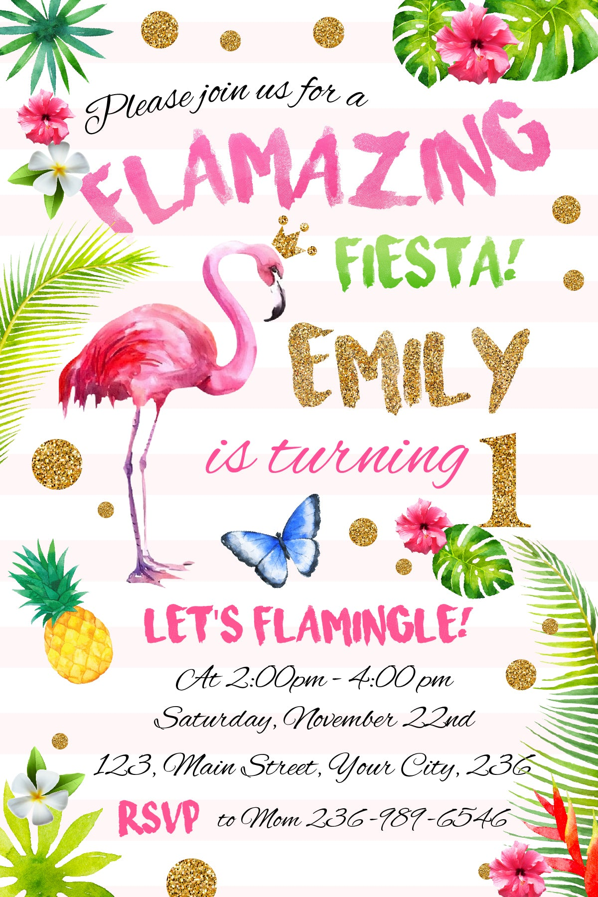 Flamingo Invitation,Pineapple Birthday Invitation,Pool Party ...