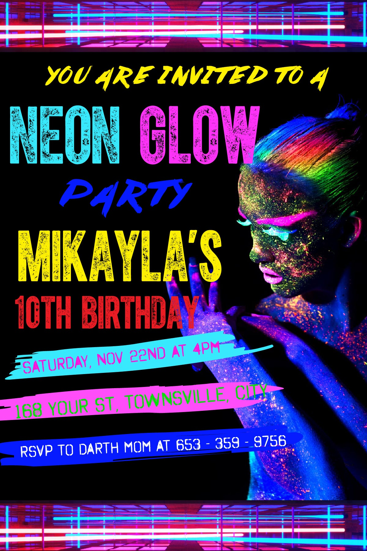 Glow Birthday Invitation, Neon Glow Birthday Party invitation, Glow ...