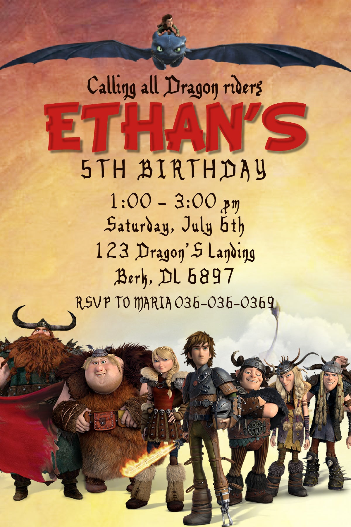 how to train your dragon printable birthday invitations
