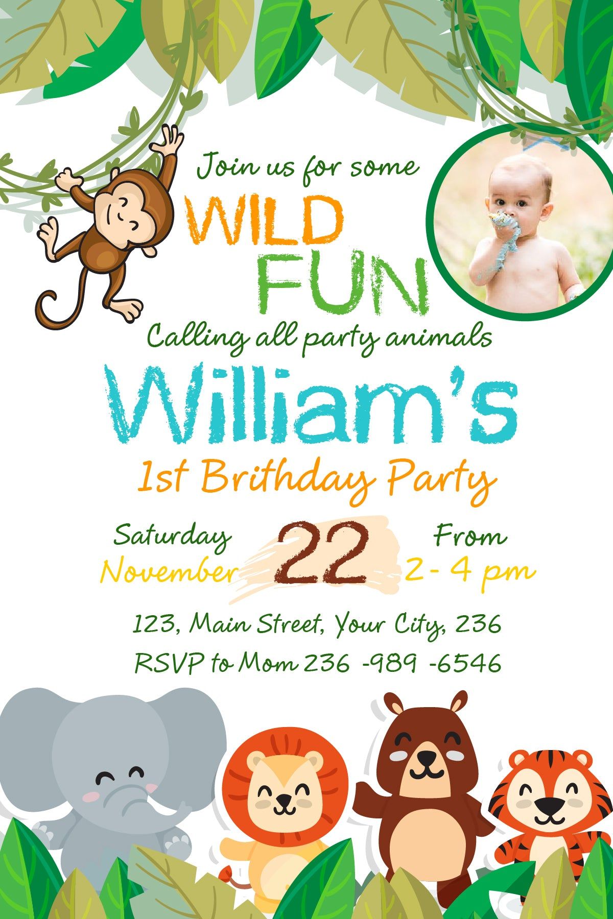 Jungle birthday invitation zoo birthdaysafari animal birthday jungle birthday invitation zoo birthdaysafari animal birthday invitation party animal birthday invitation stopboris Gallery