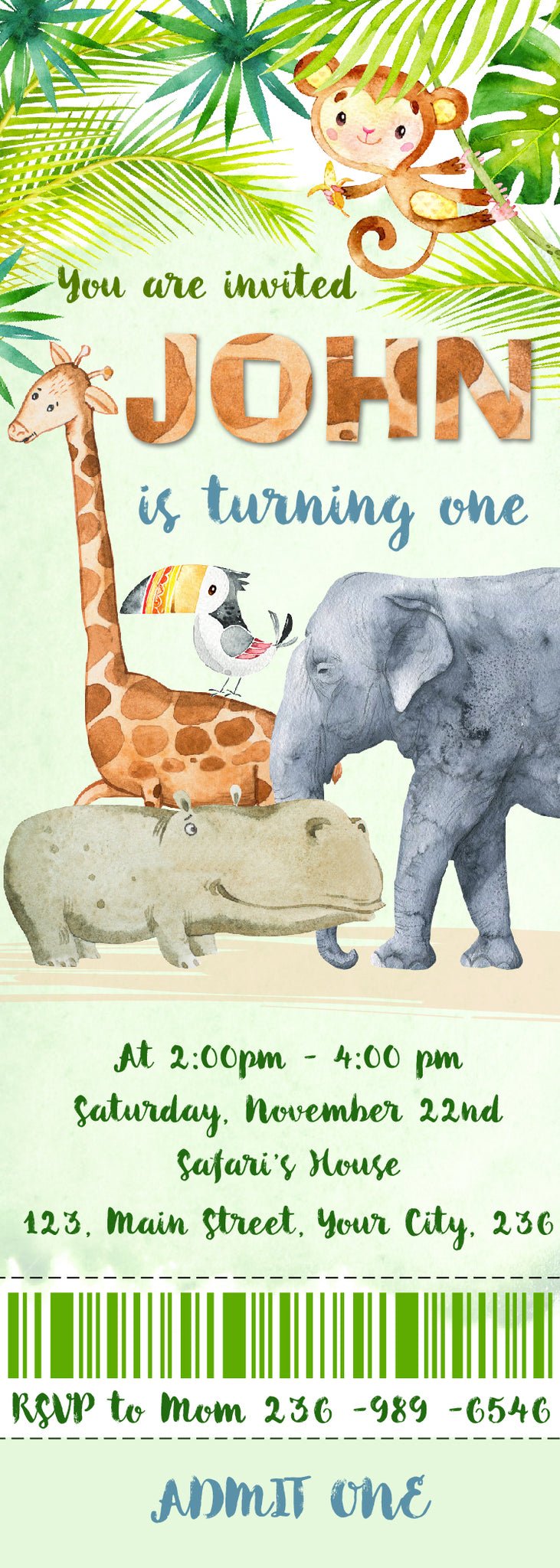 Jungle Birthday Invitation, Zoo Birthday,Safari Animal Birthday ...