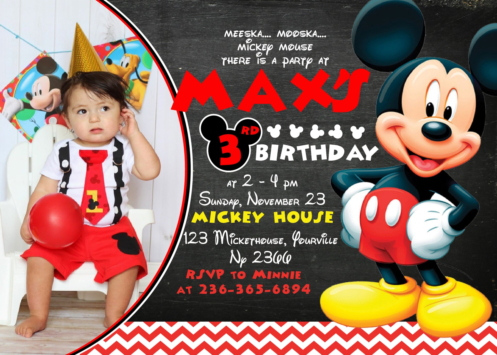 Mickey Mouse Birthday Party Mickey Mouse Invitation Mickey Mouse