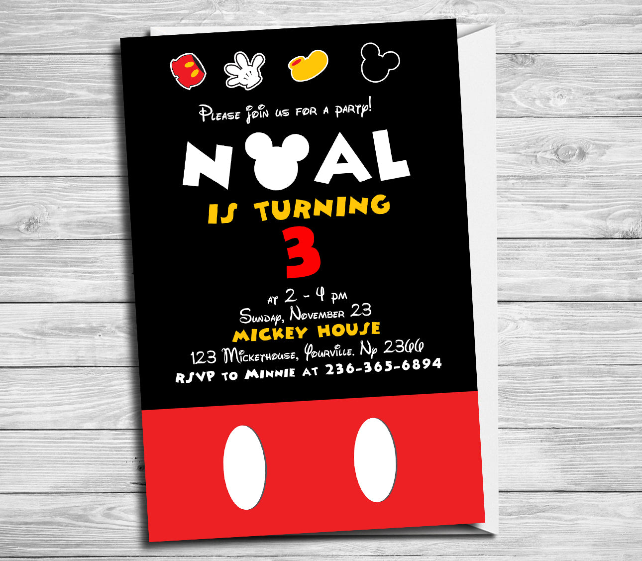 Mickey Mouse birthday party, Mickey Mouse Invitation, Mickey Mouse ...