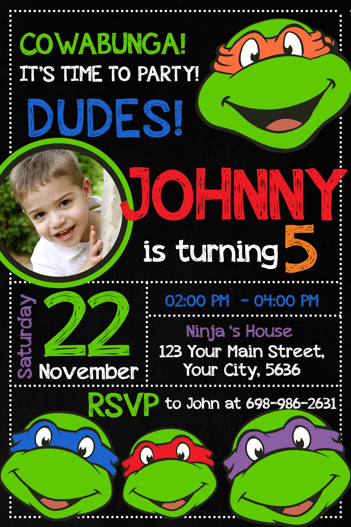 Ninja Turtles Invitation Ninja Turtles Invite Ninja Turtles