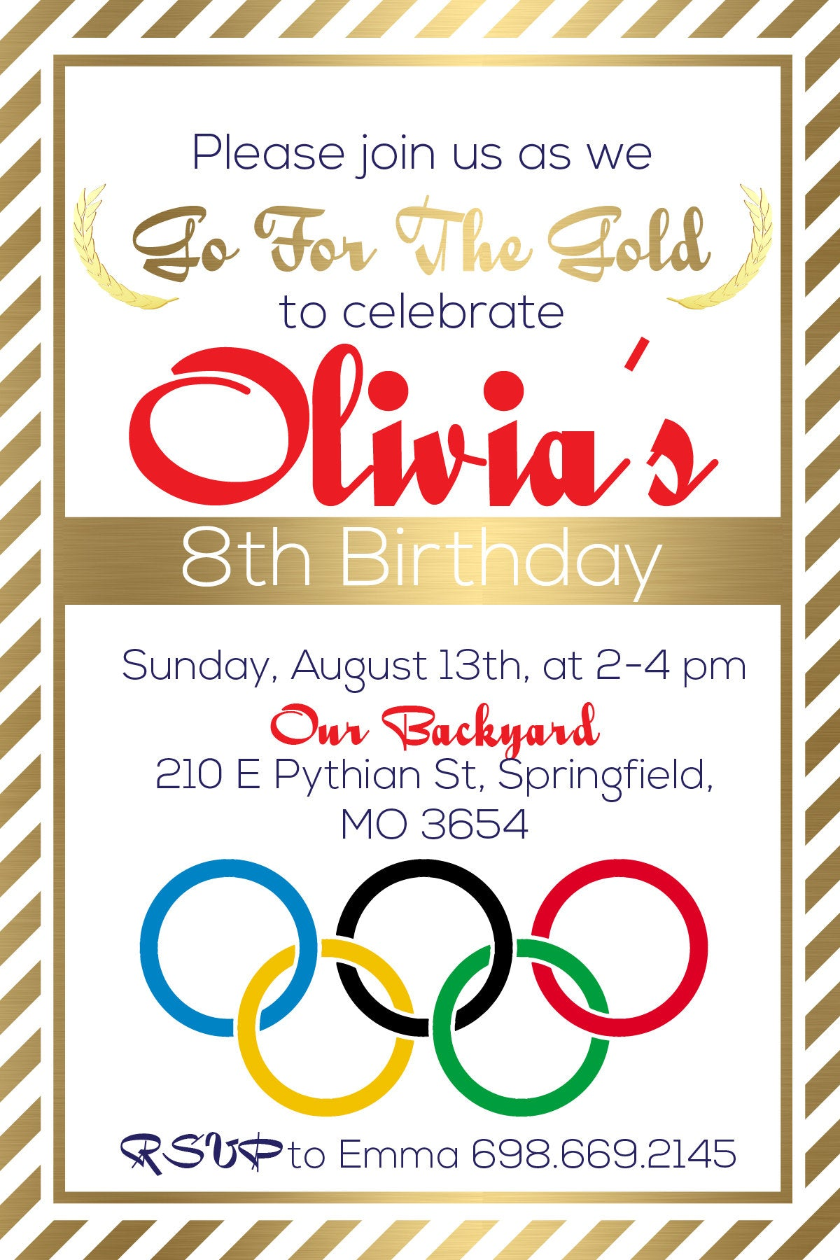 Olympics Gymnastics Birthday Party Invitation Team USA Olympics