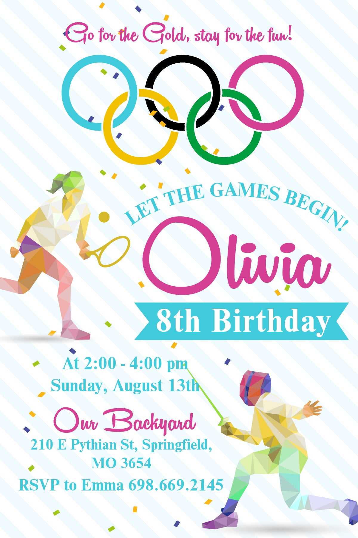 Olympics Gymnastics Birthday Party Invitation, Team USA, Olympics ...