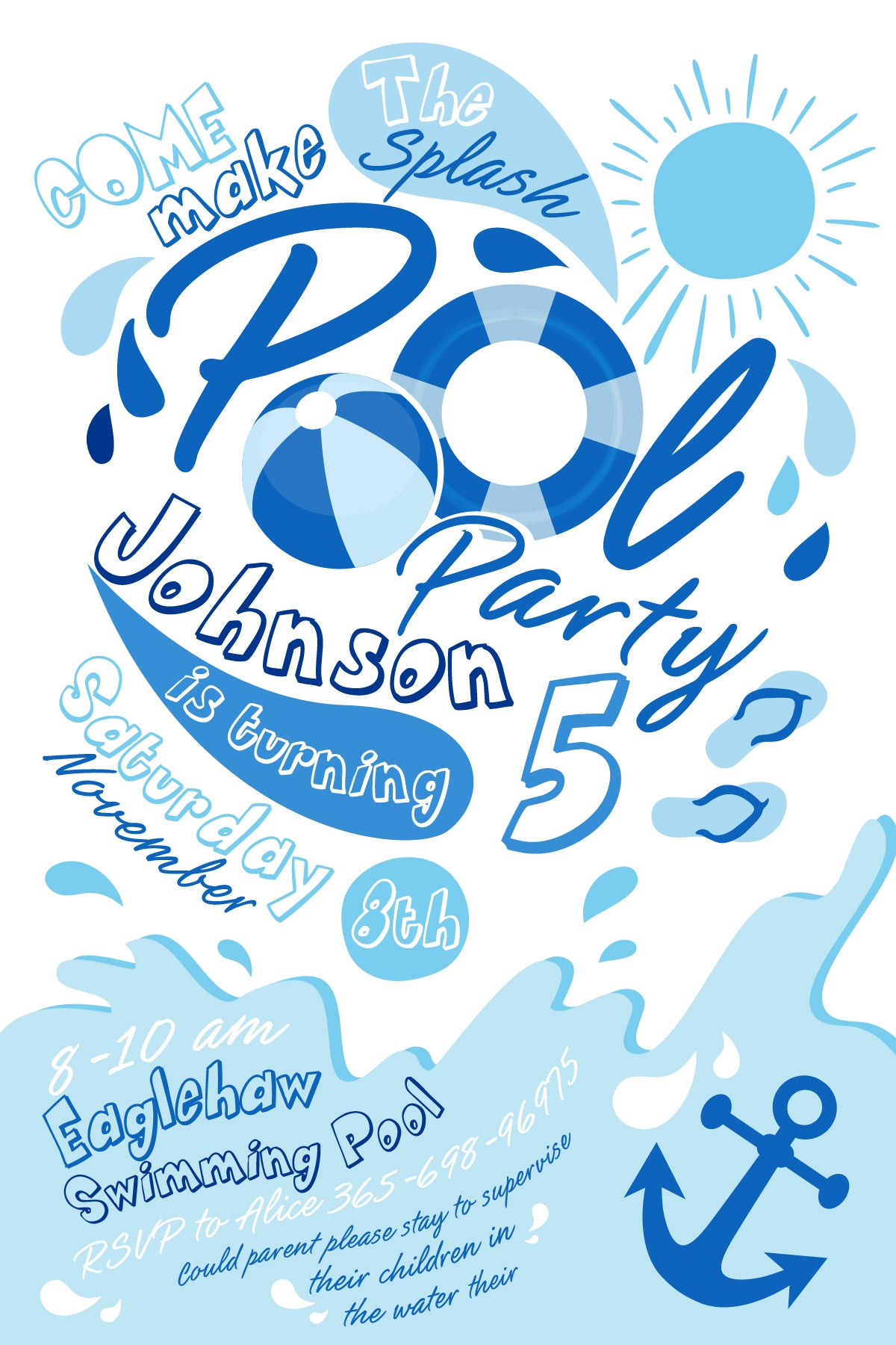 Pool party invitation swimming pool birthday party winter pool pool party invitation swimming pool birthday party winter pool party sugar shebang filmwisefo