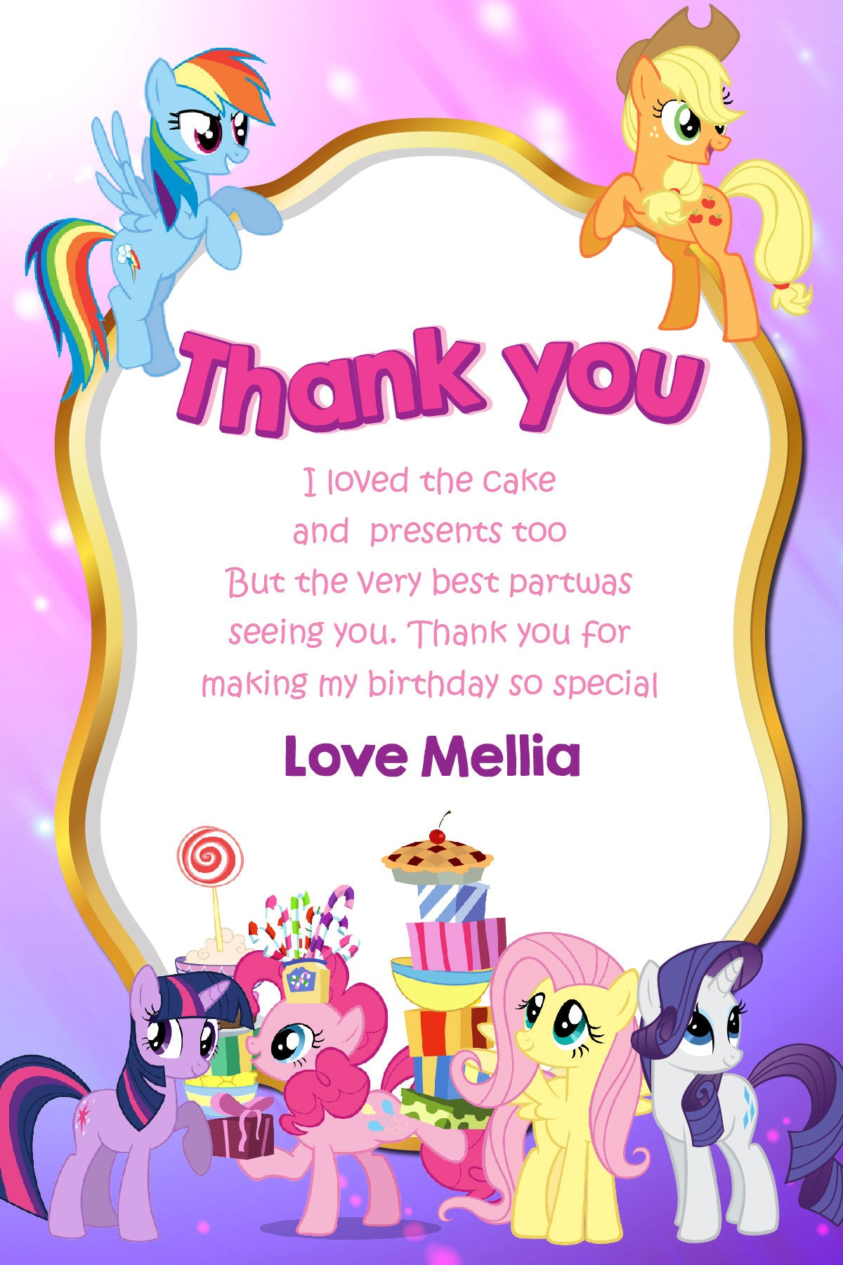 My Little Pony Invitation, My Little Pony Invite, My Little Pony ...